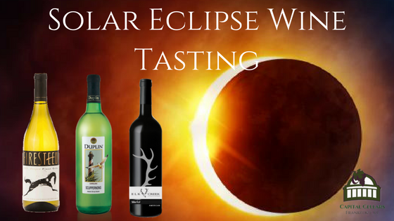 Solar Eclipse Wine Tasting: Firesteed Pinot Gris - Oregon, Horseshoe Bend White Jester (White Blend) - KY, Elk Creek Merlot - KY, Duplin Scuppernong NC