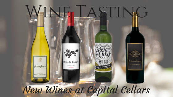 Wine Tasting for 09-07-2017 | Prime Cuts 2016 White Blend, South Africa Picket Fence 2014 Chardonnay, Russian River Valley CA Komodo Dragon 2014 Red Blend, CA Carmenet 2015 Cabernet Sauvignon, CA