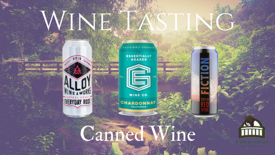 Wine Tasting: Canned Wines: Essentially Geared 2016 Chardonnay, CA Allow Wine Works 2016 Everyday Rose, Central Coast CA Friction 2014 Red Blend, Paso Robles CA